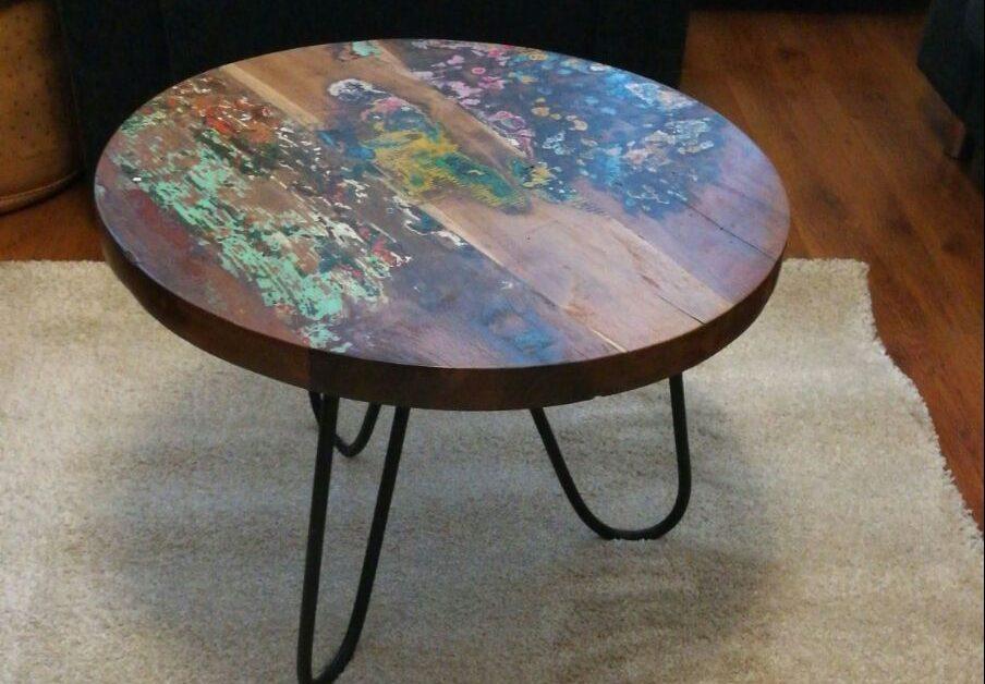 gekleurde ronde salontafel sloophout